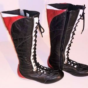 Women's Vintage Fornarina Lace-Up Knee High Boots-